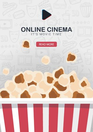 Online Cinema banner with Popcorn bucket. Hand draw doodle background.