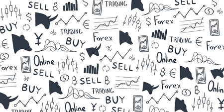 Forex hand draw doodle background. Vector illustration Illustration