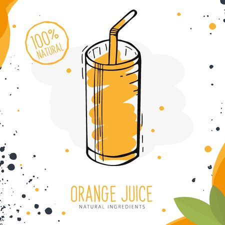 Orange Juice in a glass. Banner smoothies, lemonade, fresh, detox in sketch style Illustration