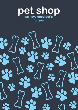 Pet shop. Home animals. Banner with cat or dog paws. Hand draw doodle background
