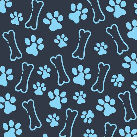 Pet Hand draw doodle background with cat or dog paws