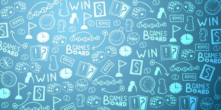 Board Games hand draw doodle background. Vector Illustration