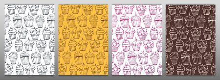 Sketches Cupcakes Background. Birthday cakes, desserts, hand drawing style