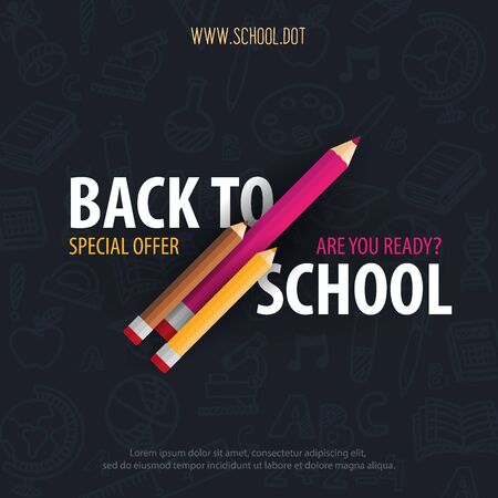 Back to School banner with colour pencils and hand draw doodle backgrounds. Vector illustration