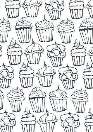 Sketches Cupcakes Background. Birthday cakes, desserts, hand drawing style.