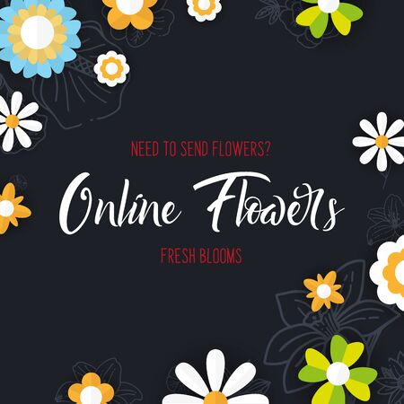 Flat flowers on a sketches background. Floral banner. Vector illustration Иллюстрация