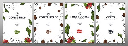 Set of Colorful Coffee Sketch banners with coffee beans and leaves for poster or another template design