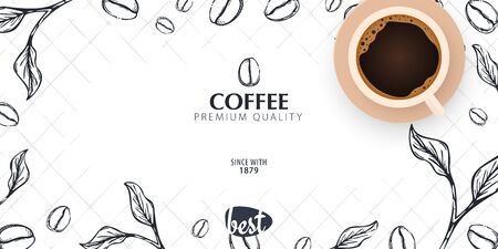 Cup of Coffee. Sketch banner with coffee beans and leaves for poster or another template design