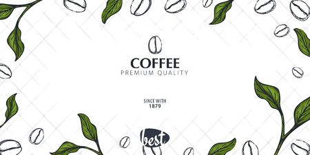 Colorful Coffee Sketch banner with coffee beans and leaves for poster or another template design Иллюстрация