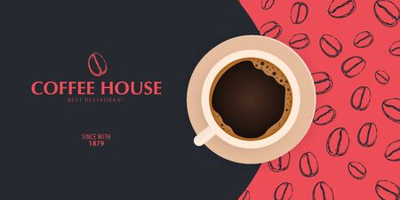 Cup of Coffee. Sketch banner with coffee beans and leaves on colorful background for poster or another template design