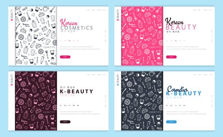 Set of Web page design templates for Korean Cosmetics. Modern design vector illustration concept for website and UI or UX. Translation - Korean Cosmetics