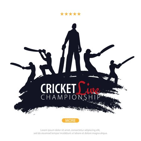 Cricket Championship banner or poster, design with players and bats. Vector illustration Иллюстрация