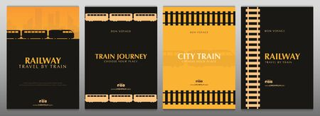 Set of Minimalistic Railway Banners. Travel by City Train.