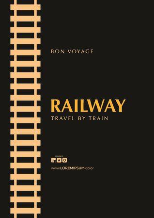 Minimalistic Railway Banner. Travel by City Train. Ilustracja