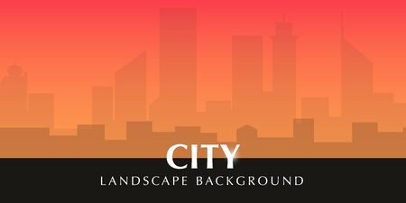 Beautiful Urban City Landscape with sunset sky Иллюстрация