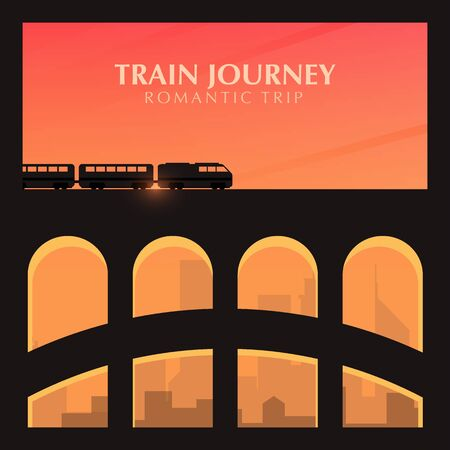 Travel by Train. Railway bridge with outdoor landscape. Travel Concept.