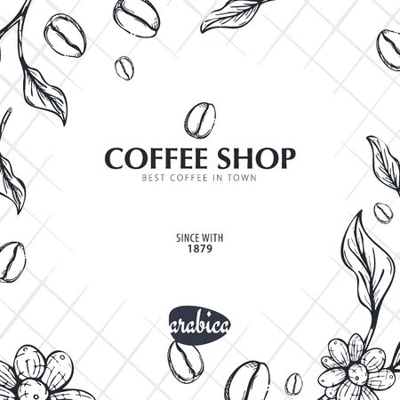 Coffee Sketch banner with coffee beans and leaves for poster or another template design