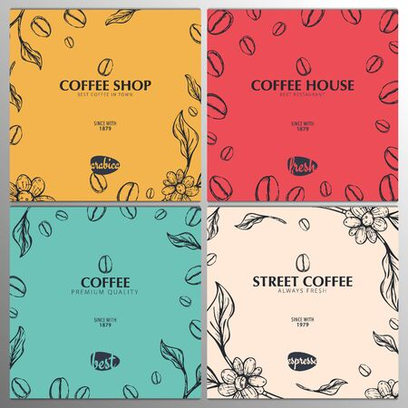 Set of Coffee Sketch banners with coffee beans and leaves for poster or another template design Иллюстрация