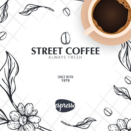 Cup of Coffee. Sketch banner with coffee beans and leaves for poster or another template design.