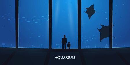 Big Aquarium or Oceanarium With crampfish. People with children watching the underwater world