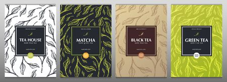 Collection tea banners. Green and Black tea, Matcha Japanese tea. Hand draw leaves on the background