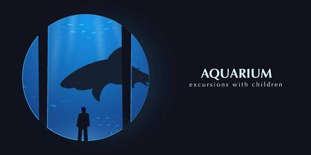 Big Aquarium or Oceanarium With shark. People watching the underwater world