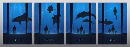 Big Aquarium, Oceanarium or Dolphinarium With dolphin, shark and crampfish. People with children watching the underwater world