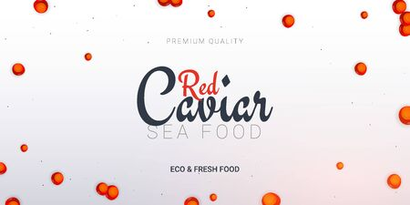 Red Caviar banner. Delicious seafood background. Caviar vector illustration. Natural and healthy luxury food. Design for fish menu. Vector Illustration Vettoriali