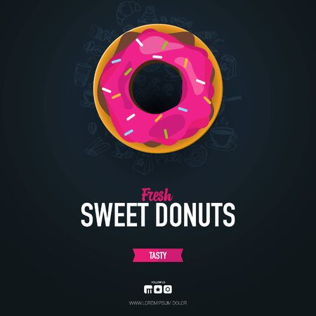 Dark food card. Donuts with pink and chocolate glaze. Hand draw doodle background Illustration