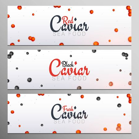 Set of Red and Black Caviar banners. Delicious seafood backgrounds. Caviar vector illustration. Natural and healthy luxury food. Design for fish menu. Vector Illustration