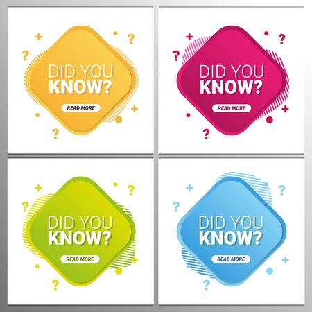 Did you know labels. Set of Banners or sticker with Interesting fact. Vectores