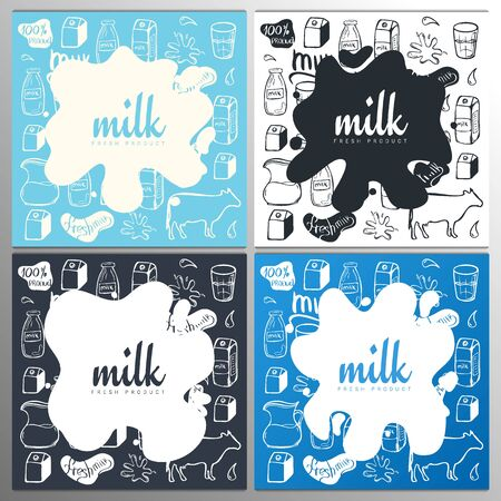 Set of Milk splashes banners and blot design on the hand draw doodle background.