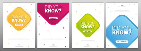 Did you know labels. Set of Banners or sticker with Interesting fact. Banco de Imagens - 130029132