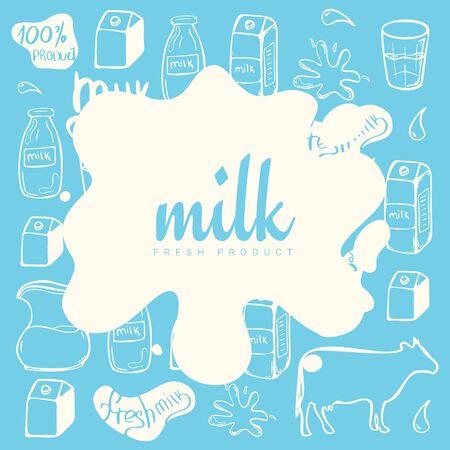 Milk splash and blot design on the hand draw doodle background. Illustration