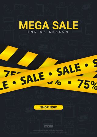 Sale banner with yellow Caution lines. Hand draw doodle icons on the background
