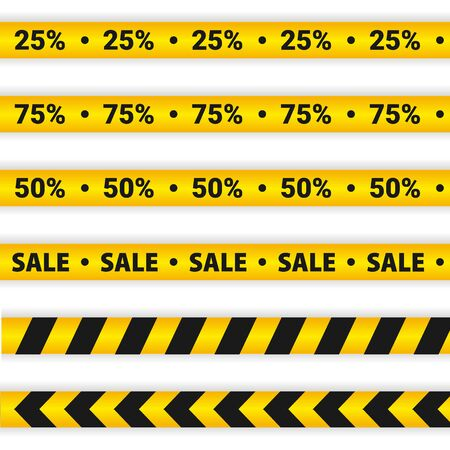 Yellow Sale Caution lines. Warning tapes. Discount elements