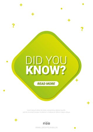 Did you know label. Banner or sticker with Interesting fact. Ilustração