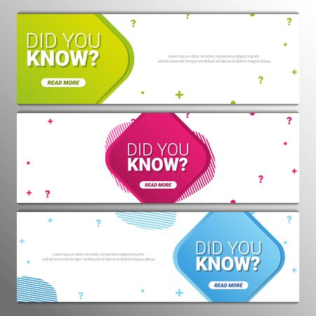 Did you know labels. Set of Banners or sticker with Interesting fact. Illustration