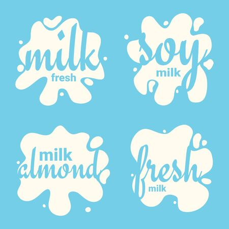 Set of Fresh, Almond and Soy Milk Splashes, blot design, shape creative illustration.