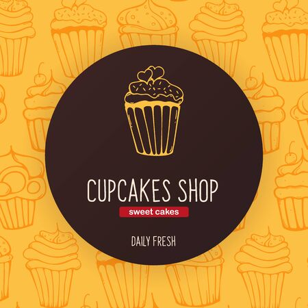 Cupcakes and Cakes banner with sketches hand drawing background. Ilustracja