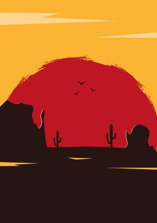 Wild West landscape with mountains and cactus. Sunset at the Texas. Vector illustration. Illustration
