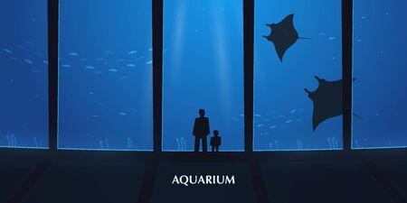 Big Aquarium or Oceanarium With crampfish. People with children watching the underwater world.