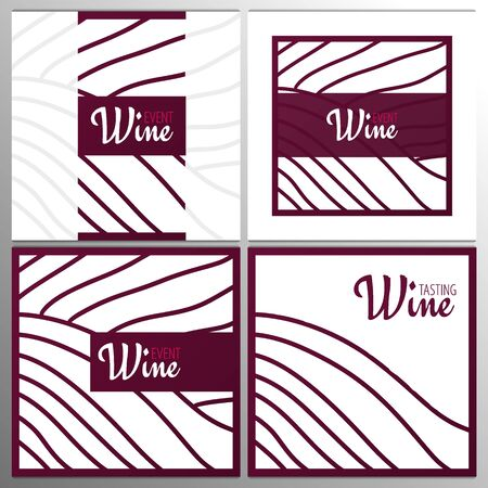 Rows of vineyards. Templates of Wine banner. Brochures, posters, invitation cards, promotional banners, menus, book covers. Illustration