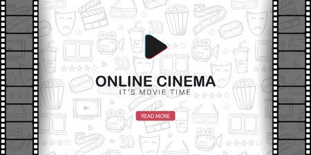 Online Cinema banner with film strip. Hand draw doodle background. Иллюстрация