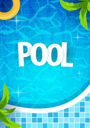 Summer pool party poster template. Water and palms, inflatable yellow mattress. Vector illustration. Ilustrace