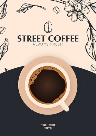 Cup of Coffee. Sketch banner with coffee beans and leaves on colorful background for poster or another template design.