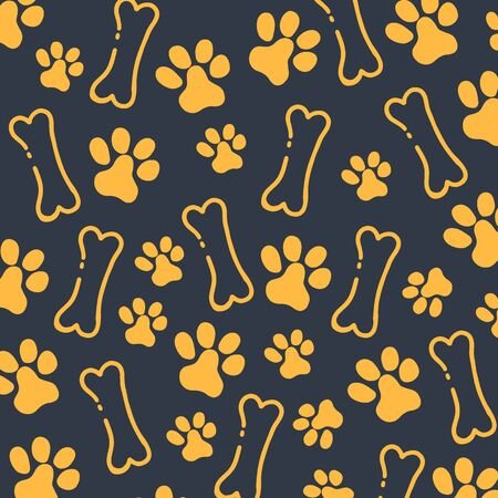 Pet Hand draw doodle background with cat or dog paws. Фото со стока - 130033402