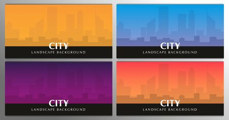Set of banners. Railway bridge with beautiful outdoor and city landscape. Travel Concept.