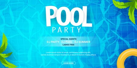 Summer pool party poster template. Water and palms, inflatable yellow mattress. Vector illustration. 写真素材 - 130033252