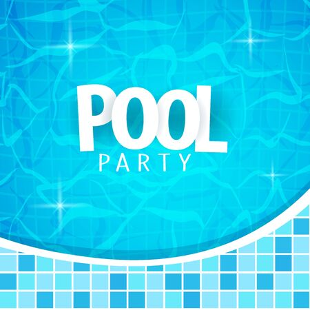 Summer pool party poster template. Water and palms, inflatable yellow mattress. Vector illustration. 写真素材 - 130033267